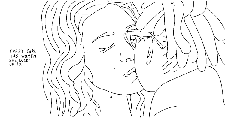 An illustration depicts two women kissing. Text beside the illustration states, every girl has women she looks up to.