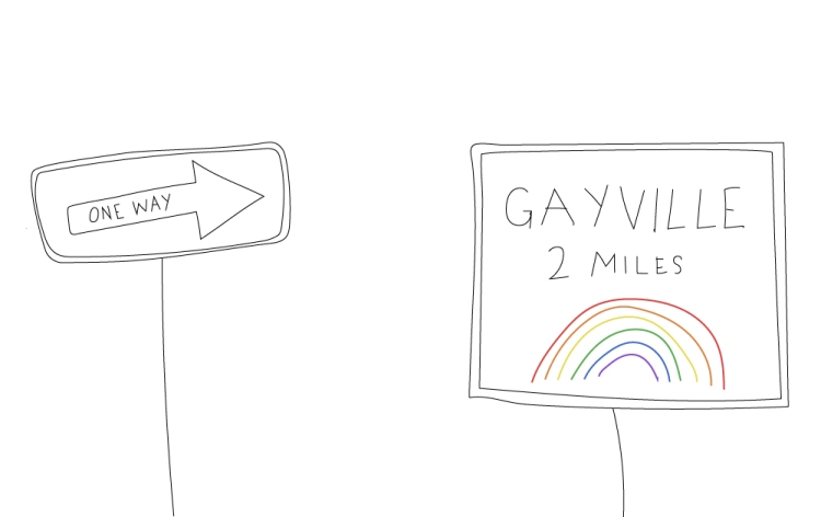 There are two signs as follows. The first sign states, One Way, and points to the second sign. The second sign states, Gayville, 2 miles, and has a rainbow on it.