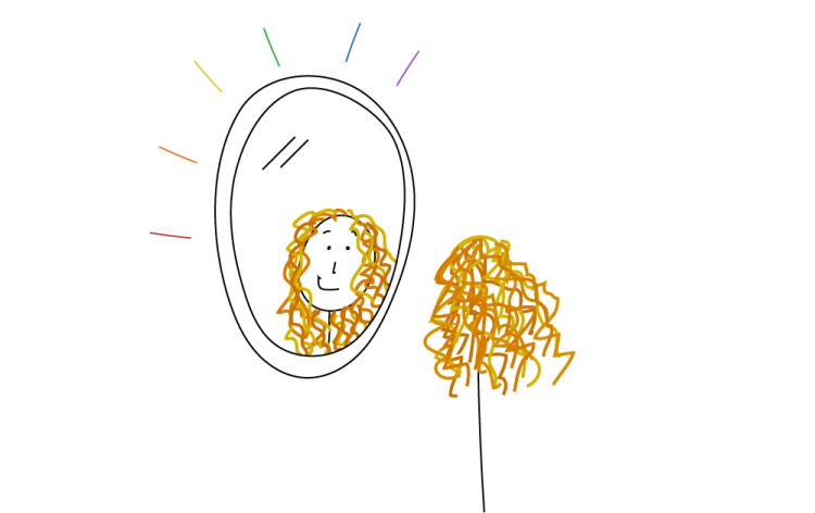 An illustrated person with long, wavy orange hair looks at themself in the mirror and smiles.