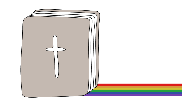 A sketch of the bible has a rainbow streak trailing behind it.