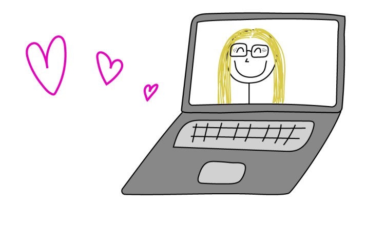 A laptop screen displays a smiling girl. Hearts float near the laptop screen.
