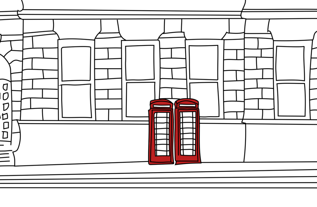 In a sketch, two red telephone booths sit side by side, in front of a brick building.