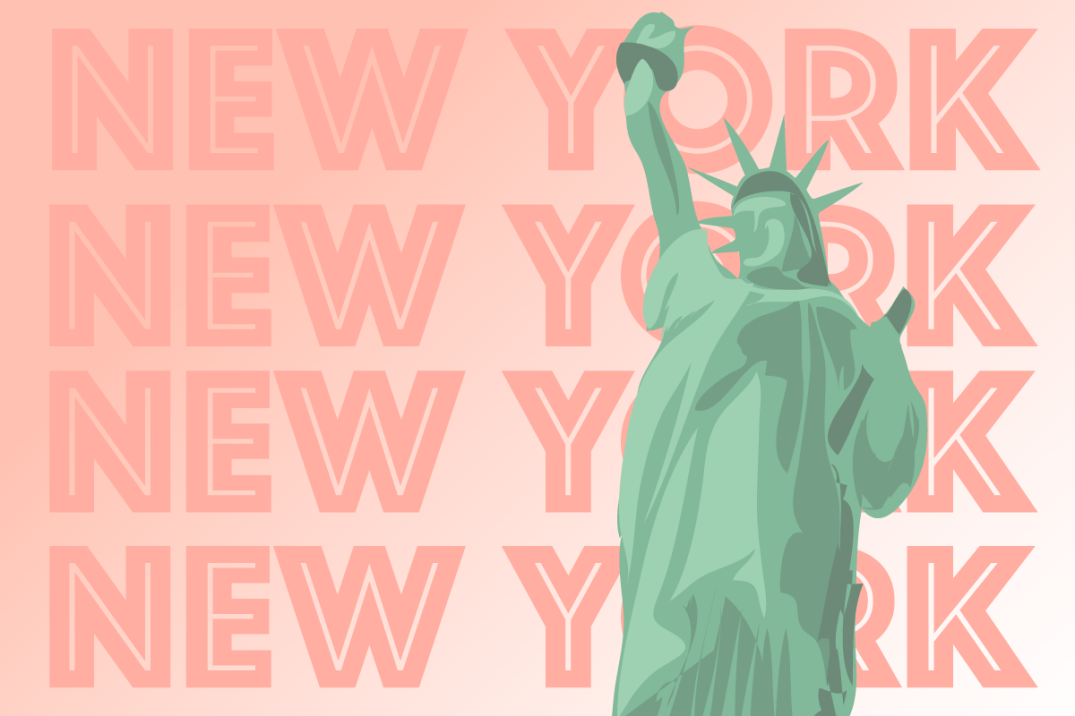 A graphic of the Statue of Liberty is the foreground of the word, New York, repeated four times.