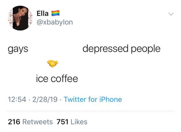 The tweet states, gays, depressed people, handshake emoji, ice coffee. The tweet is from handle x baby l o n.