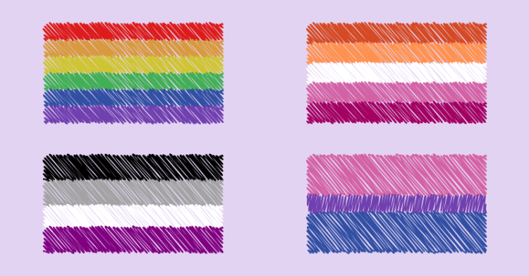 There are 4 pride flags, as follows. Gay, lesbian, asexual, bisexual.