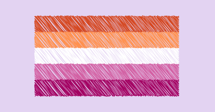 A lesbian pride flag has 5 horizontal stripes as follows from top to bottom. Orange, light orange, white, light pink, dark pink.