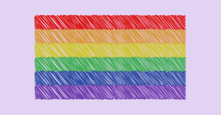 A lgbt pride flag is divided into 6 horizontal stripes as follows from top to bottom. Red, orange, yellow, green, blue, purple.