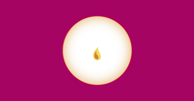 A graphic flame is at the center of the image. A circle of negative space surrounds this flame.