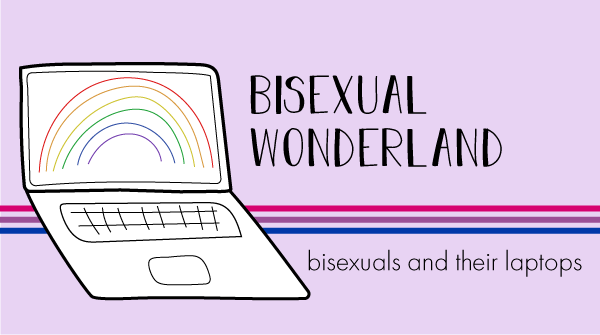 The blog logo has a bisexual pride banner behind it. The title states, bisexual wonderland, bisexuals and their laptops.