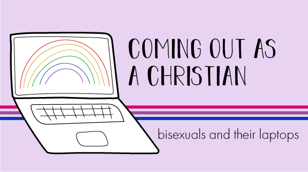 The blog logo has a bisexual pride banner behind it. The title states, coming out as a christian, bisexuals and their laptops.