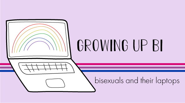 The blog log has a bisexual pride banner behind it. The title states, growing up bi, bisexuals and their laptops.