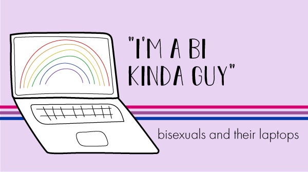 The blog logo has a bisexual pride banner behind it. The title states, quote, i'm a bi kinda guy, end quote, bisexuals and their laptops.