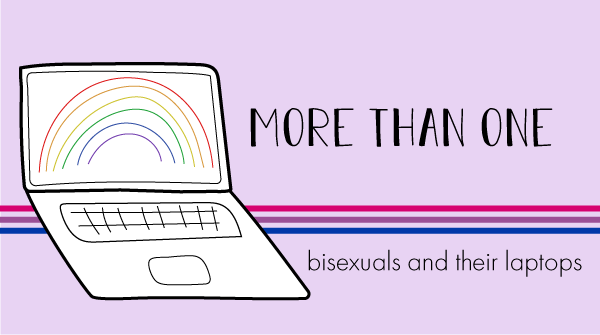 The blog logo has a bisexual pride banner behind it. The title states, more than one, bisexuals and their laptops.