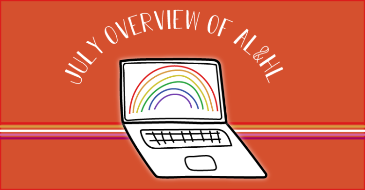 The logo of a lesbian and her laptop states july overview of a l and h l.
