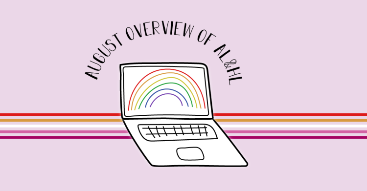 A Lesbian and Her Laptop's blog logo includes the title, August Overview of A L and H L.