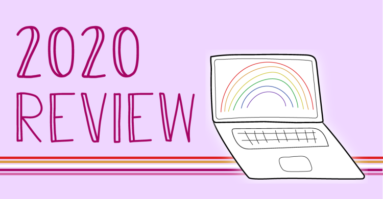 The blog logo includes lesbian pride colors and states, 2020 review.