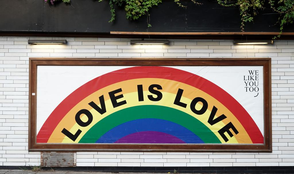 A rainbow states love is love.