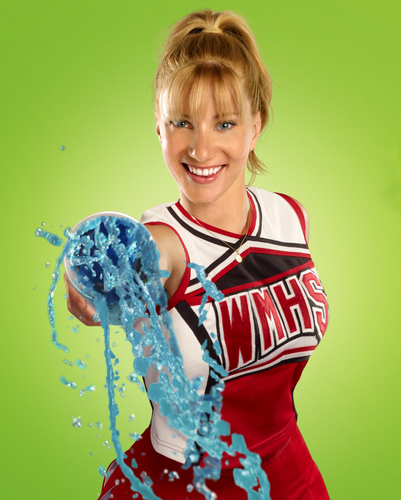 Brittany Pierce, a blonde woman wearing a cheerleader uniform, throws a slushy at the camera.